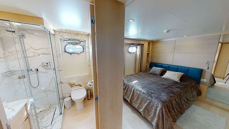 North Explorer yacht stateroom and bathroom