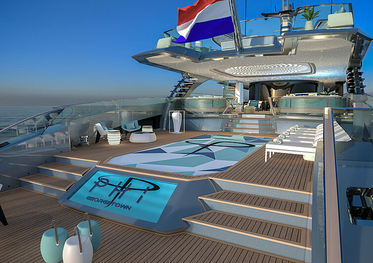 Phi yacht exterior rendering