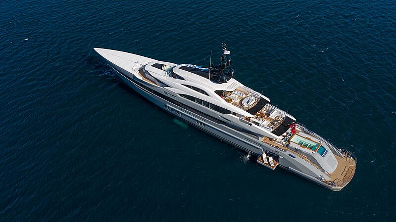 Tatiana yacht anchored aerial