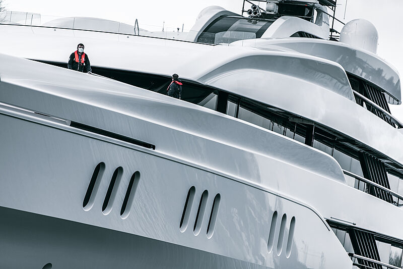 Feadship Project 819 launch in Kaag