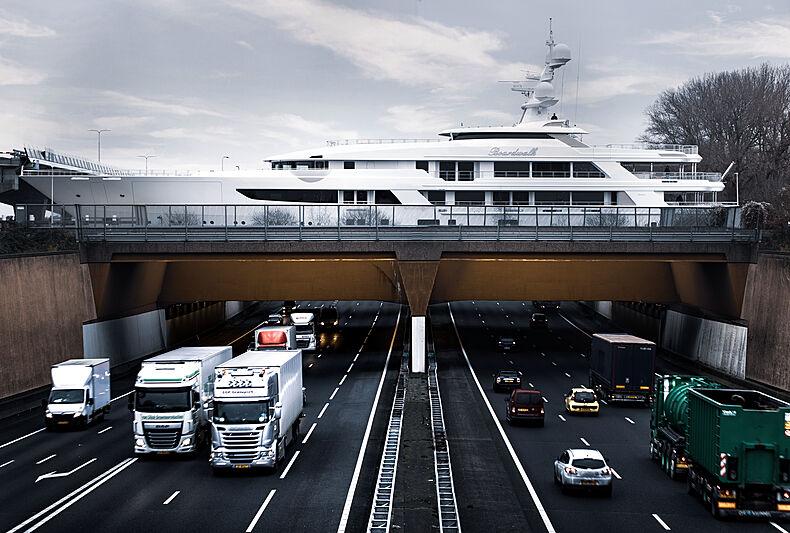 Boardwalk yacht by Feadship under transport