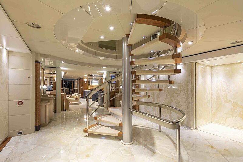 Sirona III yacht hall & staircase