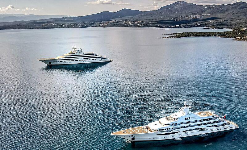Dilbar and Lady Gulya yachts by Lürssen in Golfo Aranci