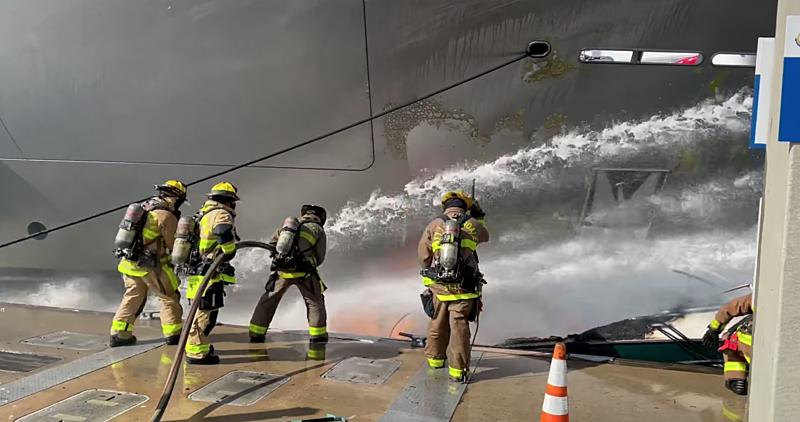 Feadship yacht W fire video