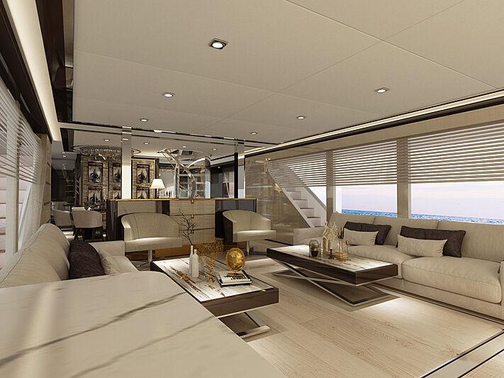 Bering B107 yacht interior rendering