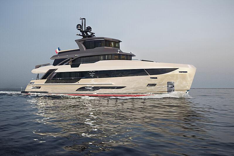 Bering B107 yacht exterior rendering