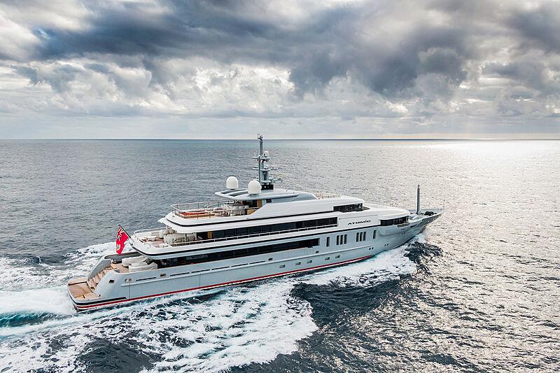 Atomic yacht cruising off Antibes