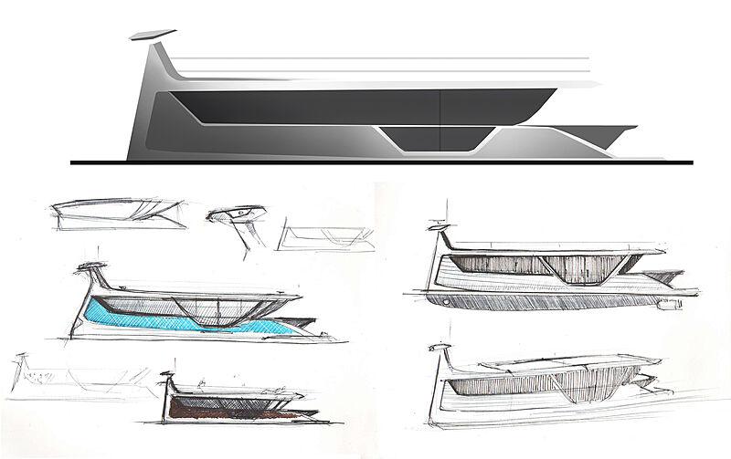 Drakkar S yacht concept sketches
