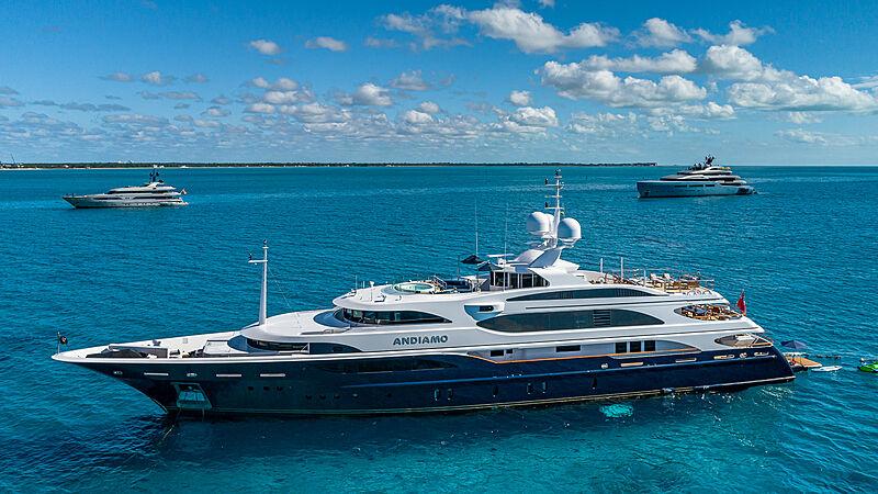 Andiamo yacht with Aviva and Radiance in the Bahamas