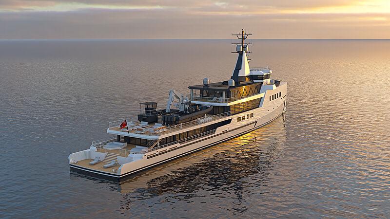 Damen 72m hybrid expedition vessel exterior design