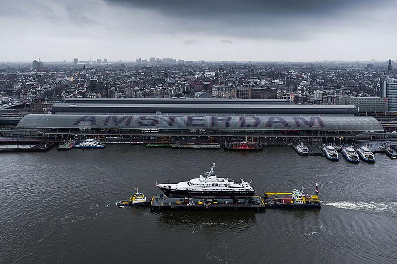 Amara yacht passing by Amsterdam