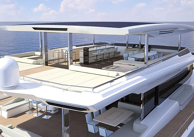 Silent 80 Tri-Deck Catamaran exterior design