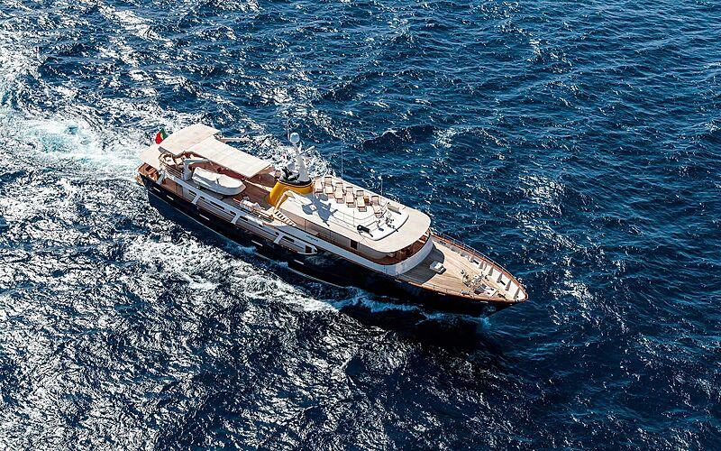 Arionas yacht cruising aerial