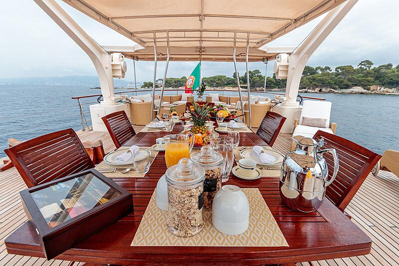 Arionas yacht sun deck dining