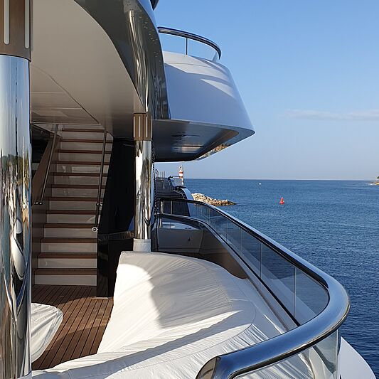 Superyacht with glass railings