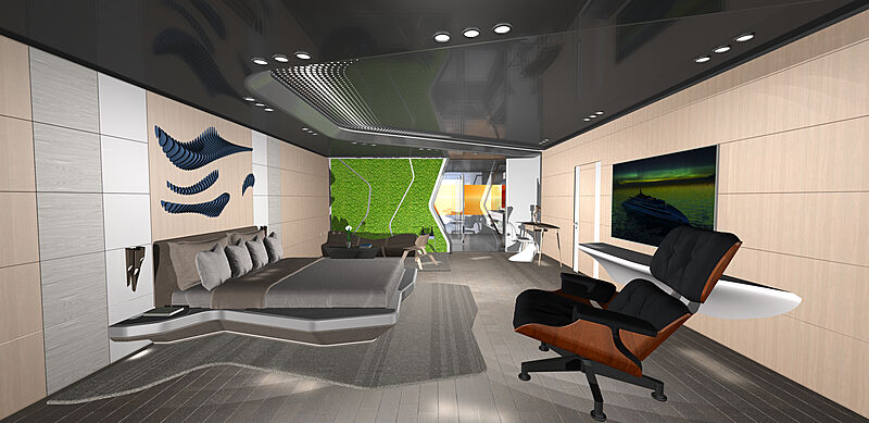 Ulstein X-Bow concept CX128 interior renders: owner's cabin