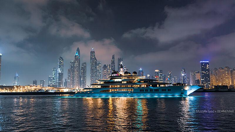 Amadea cruising by night in Dubai