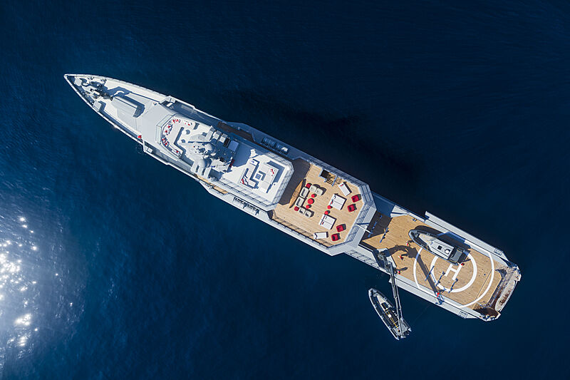 Bold yacht overhead view
