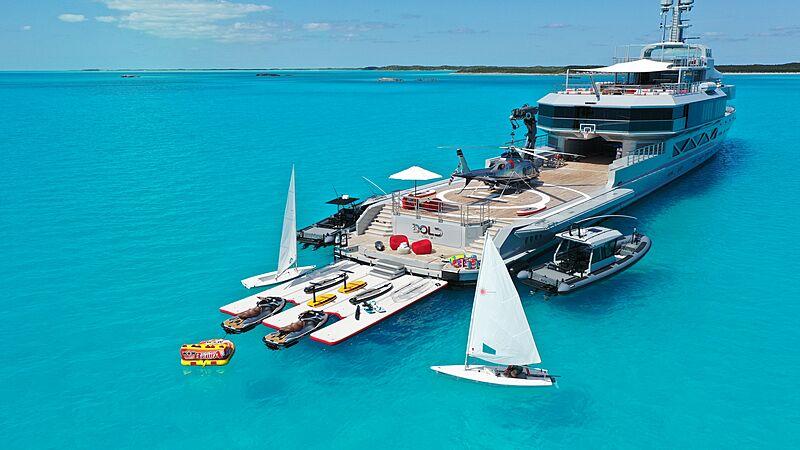 Bold yacht beach club with toys