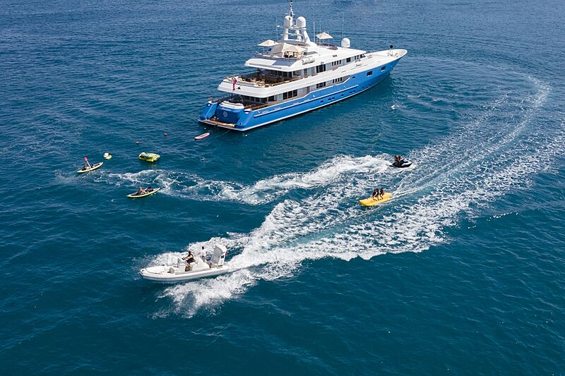 Mosaique yacht anchored with toys