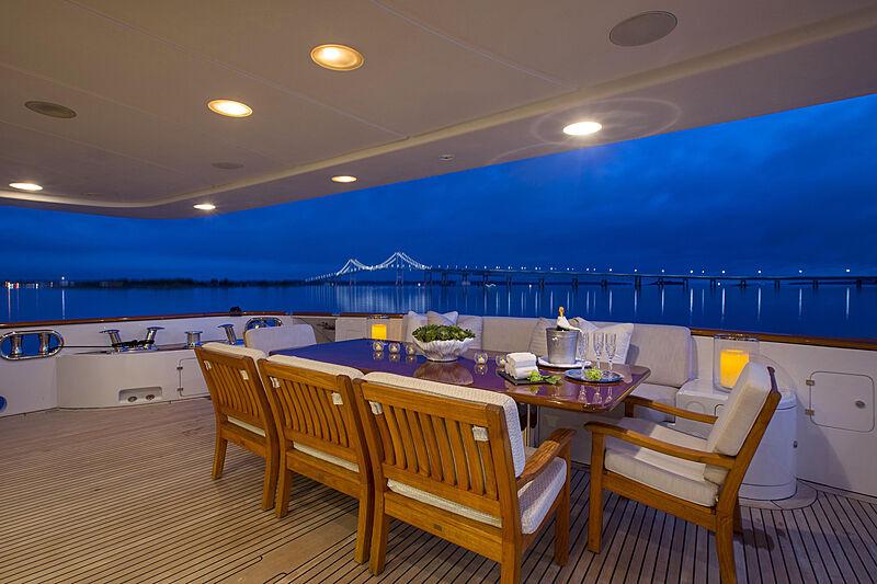 Domani yacht aft deck