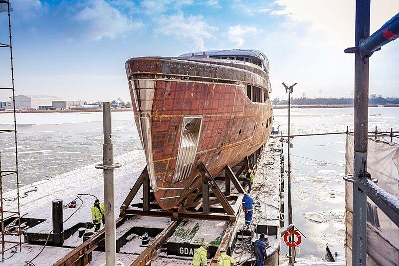 Conrad C144S/01 yacht under construction