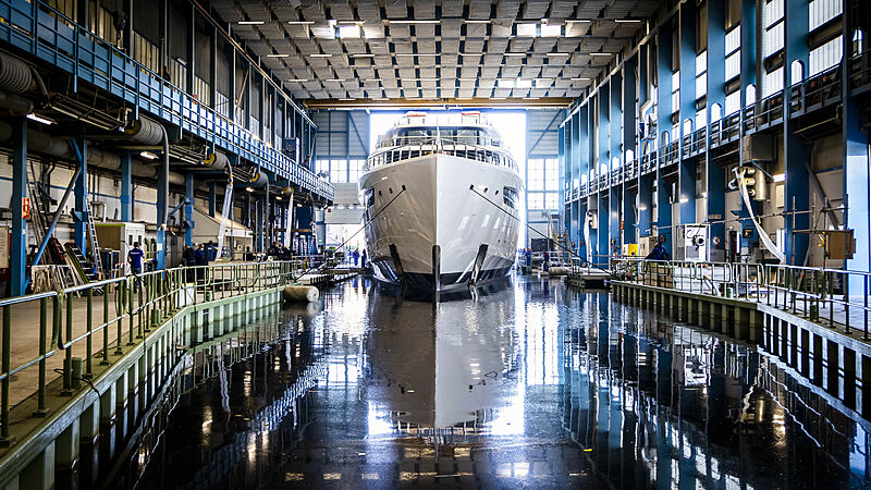 Project 817 yacht launch at Feadship