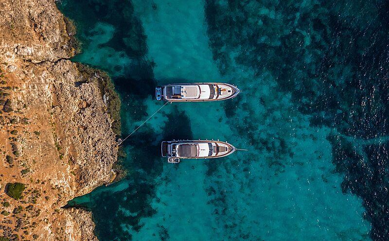 Yachts at Comino island Malta aerial