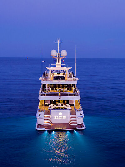 Elixir yacht anchored at night