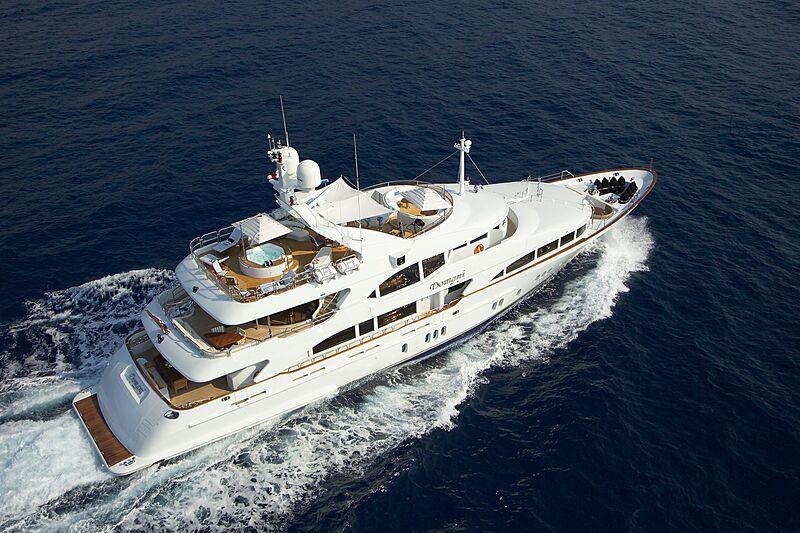 Domani yacht cruising aerial