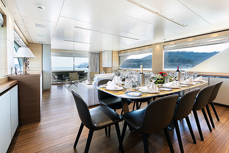 The Unifier King Abdulaziz yacht dining
