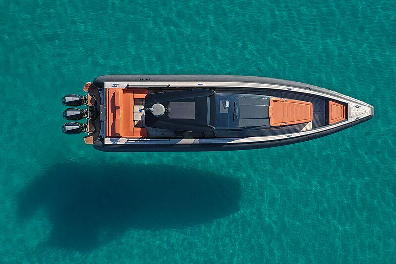 Technohull Omega 47 tender anchored
