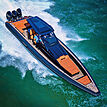 Technohull Omega 47 tender cruising