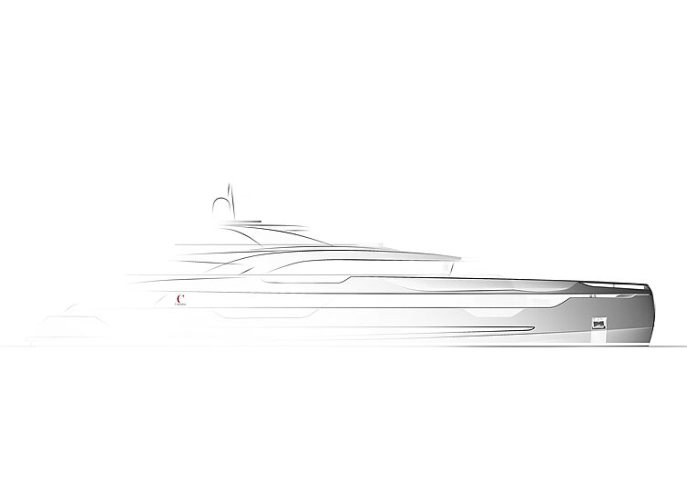 Lady yacht profile rendering