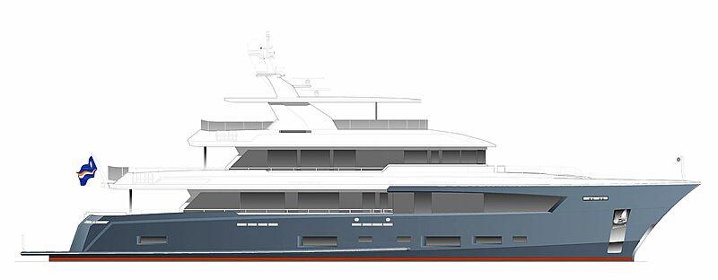 Cheoy Lee 130 Explorer yacht profile rendering
