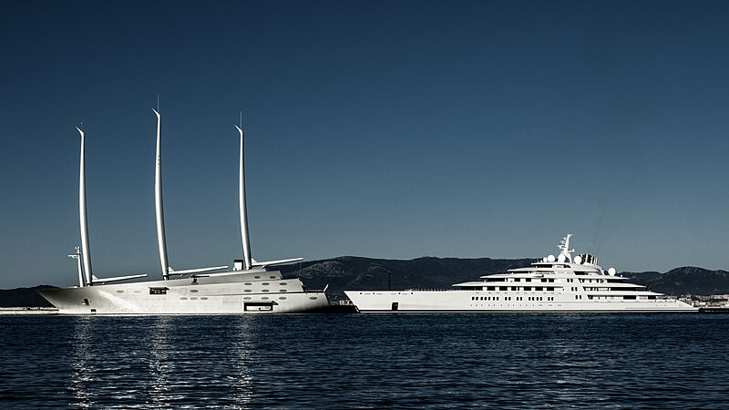 Sailing Yacht A and Azzam in Gibraltar