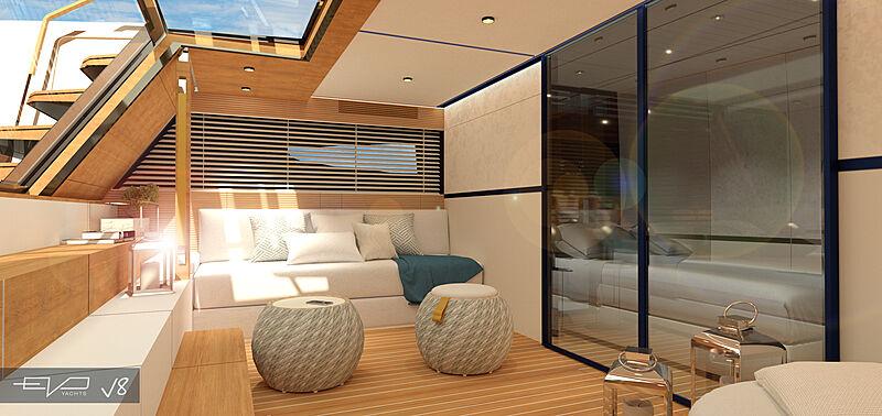 EVO V8 yacht lounge area