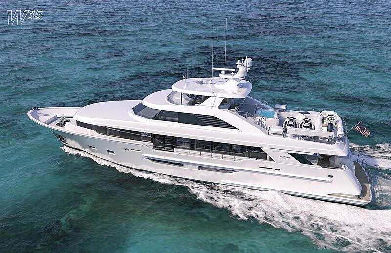 Westport W117 yacht exterior rendering