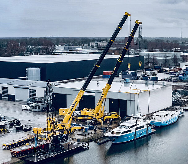 Helga yacht launch at Van der Valk shipyard