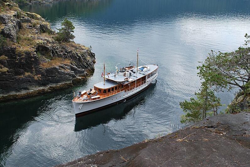 Olympus yacht cruising in British Columbia, Canada