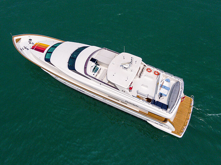 Victorious yacht cruising aerial