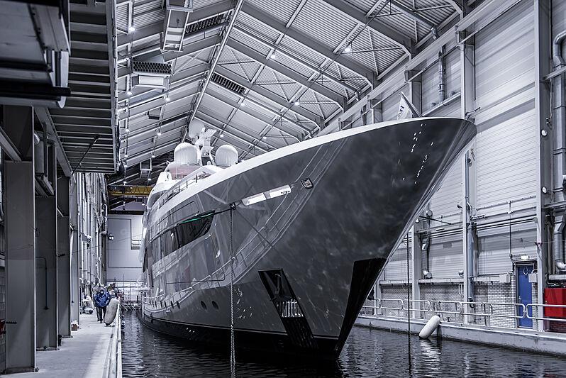 Somnium yacht launch at Feadship De Vries Aalsmeer