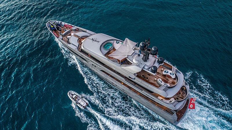 Vibrance yacht cruising aerial