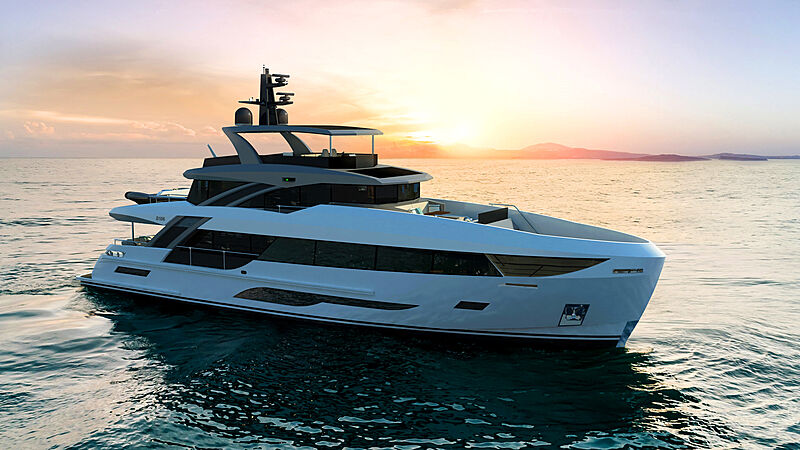Bering B107 yacht exterior design