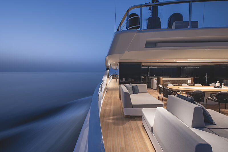 Cloud 9 yacht owner deck at night