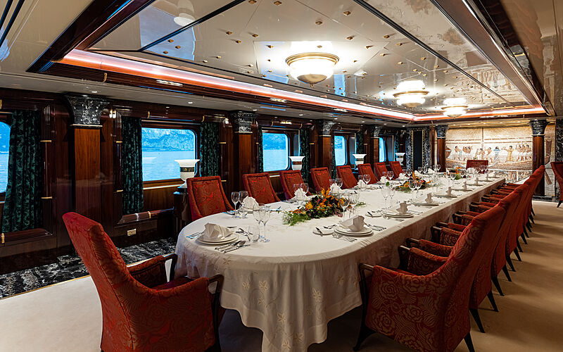 Lady Moura yacht dining room