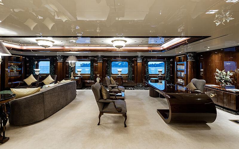 Lady Moura yacht study room