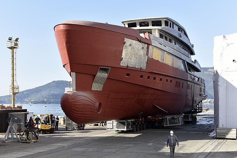 Sanlorenzo 57 Steel yacht hull 141 in build in La Spezia