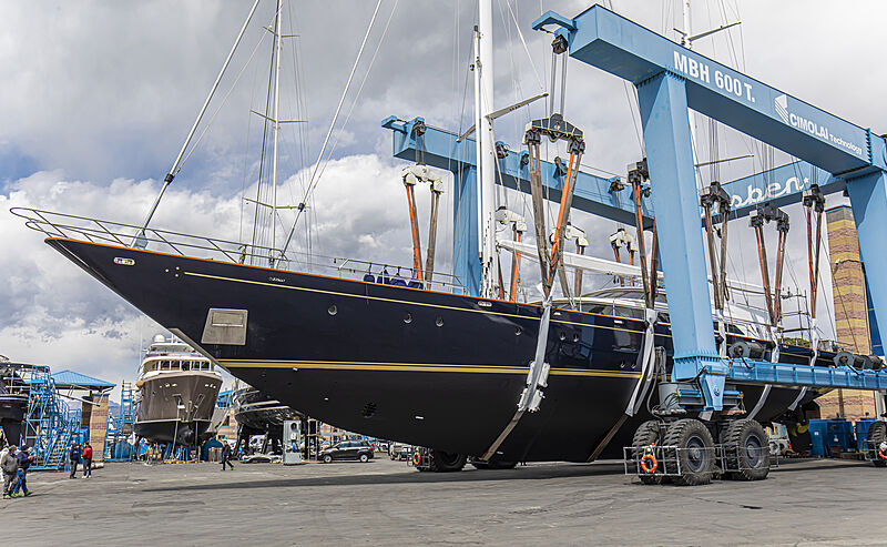 Morning Glory yacht relaunch after refit at Lusben Viareggio
