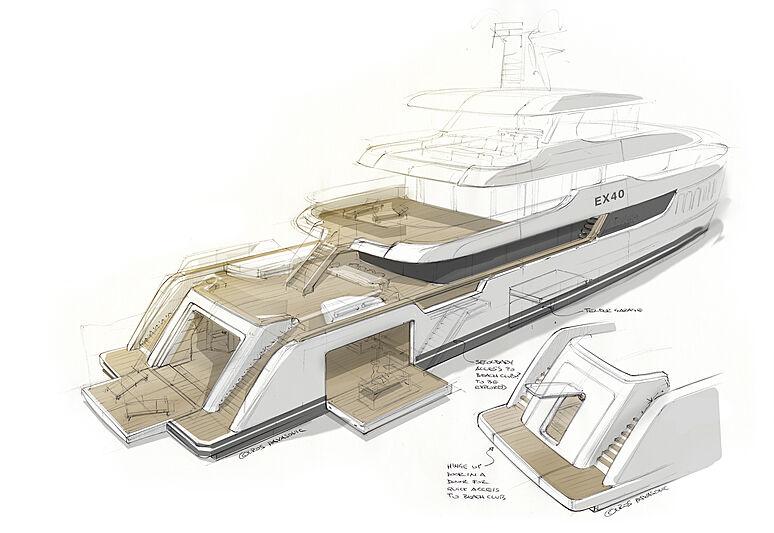 EX40 yacht concept exterior design